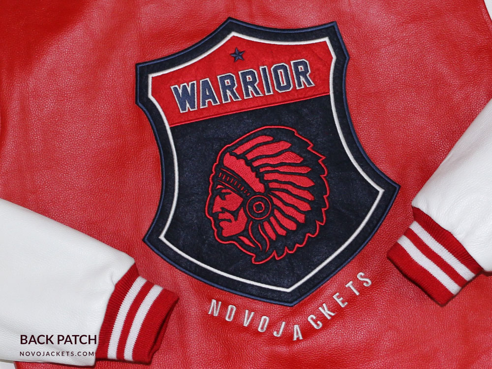 Warrior Patch on Back of Custom Leather Letterman Jacket