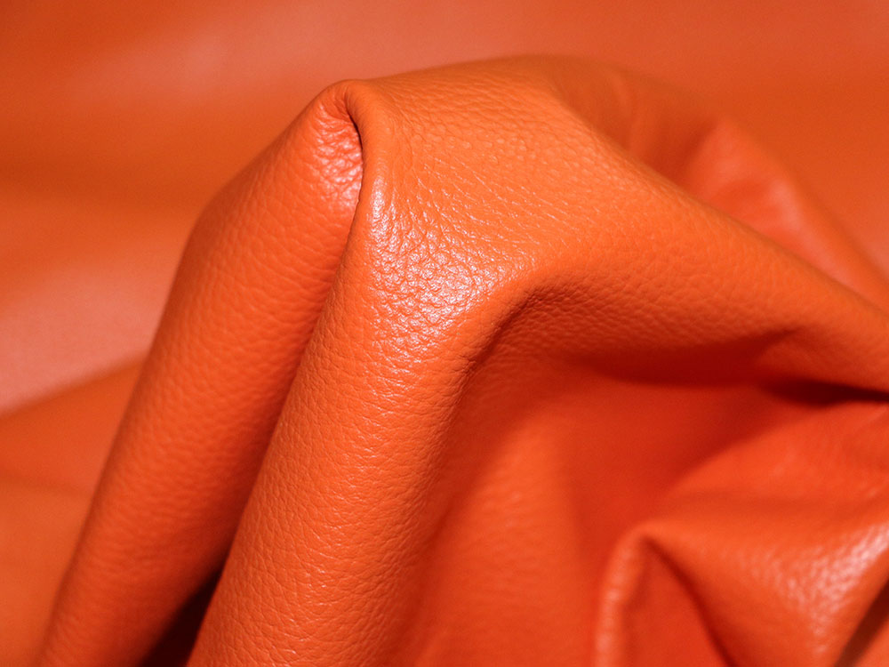 Orange Cowhide Leather