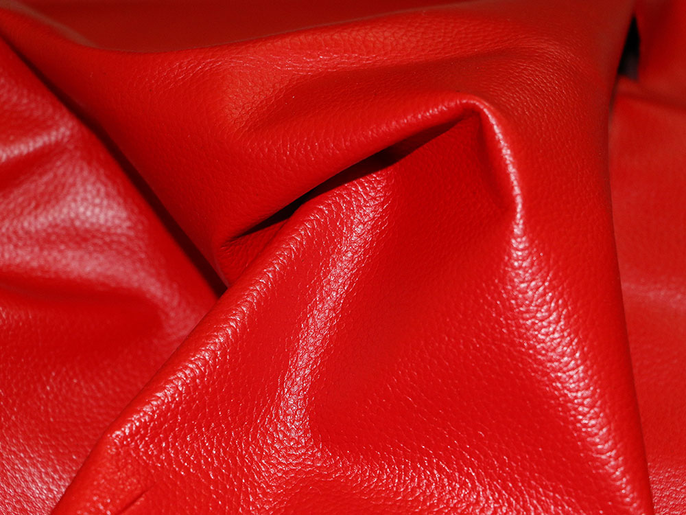 red cowhide leather
