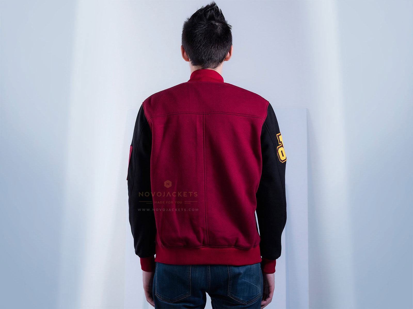 Mens Cotton Fleece Bomber Jacket Custom
