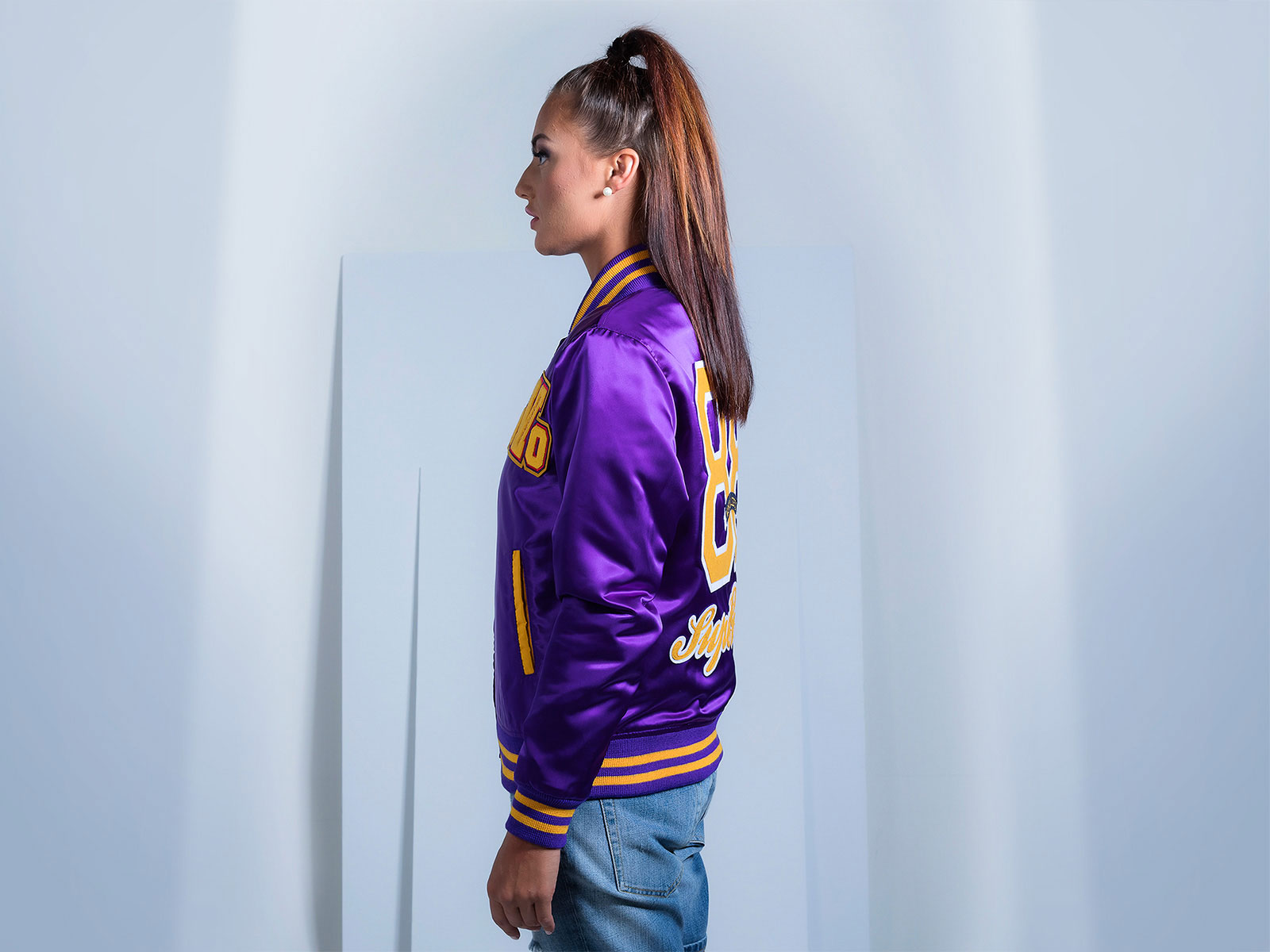 Custom Satin Letterman Jacket for Women