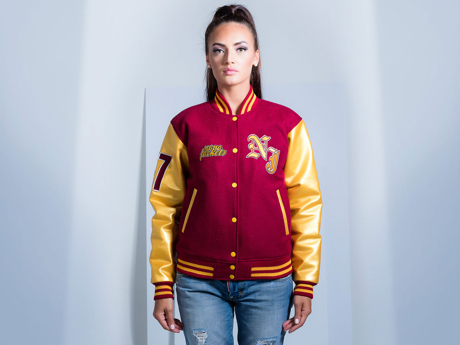 Faux Leather Sleeves Custom Varsity Jacket for Women