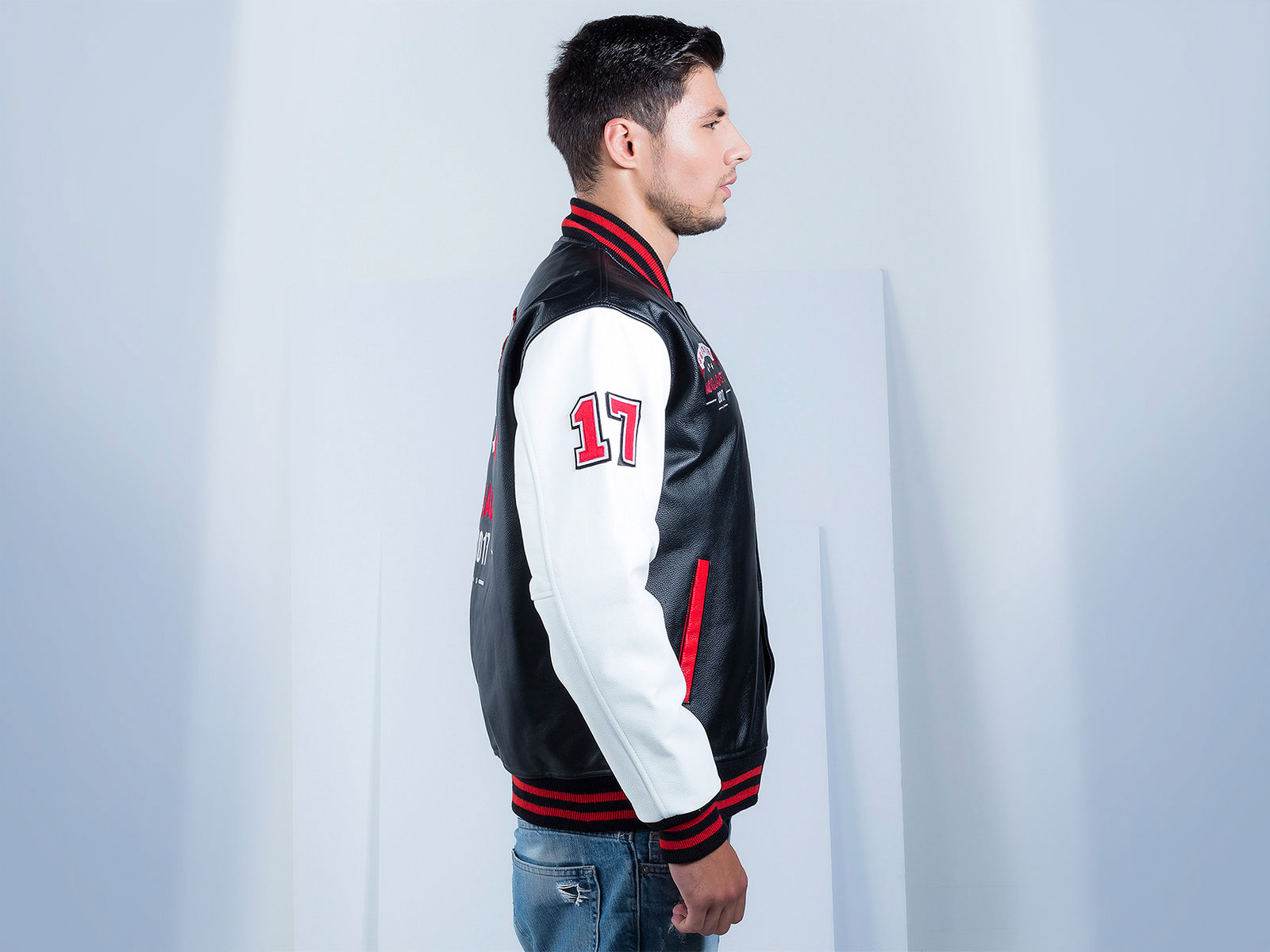 Custom Leather Letterman Jacket Mens