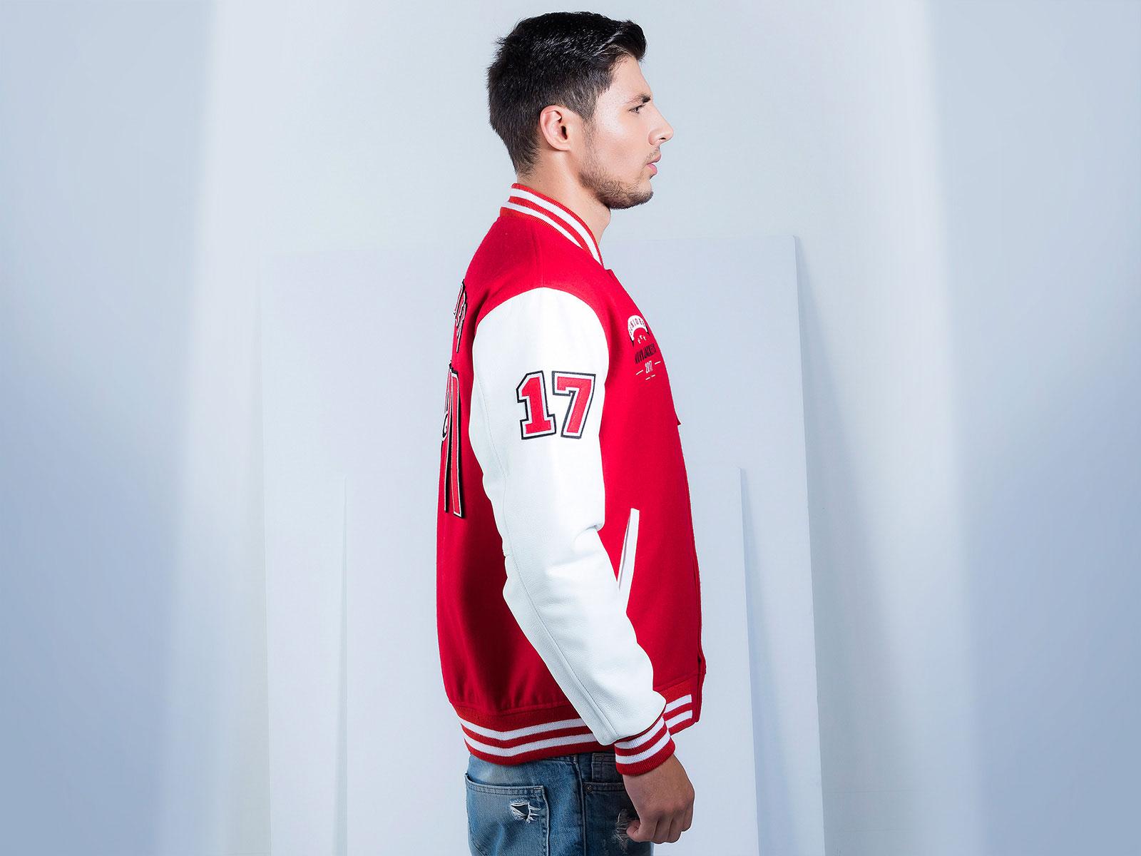 Varsity leather jacket customized