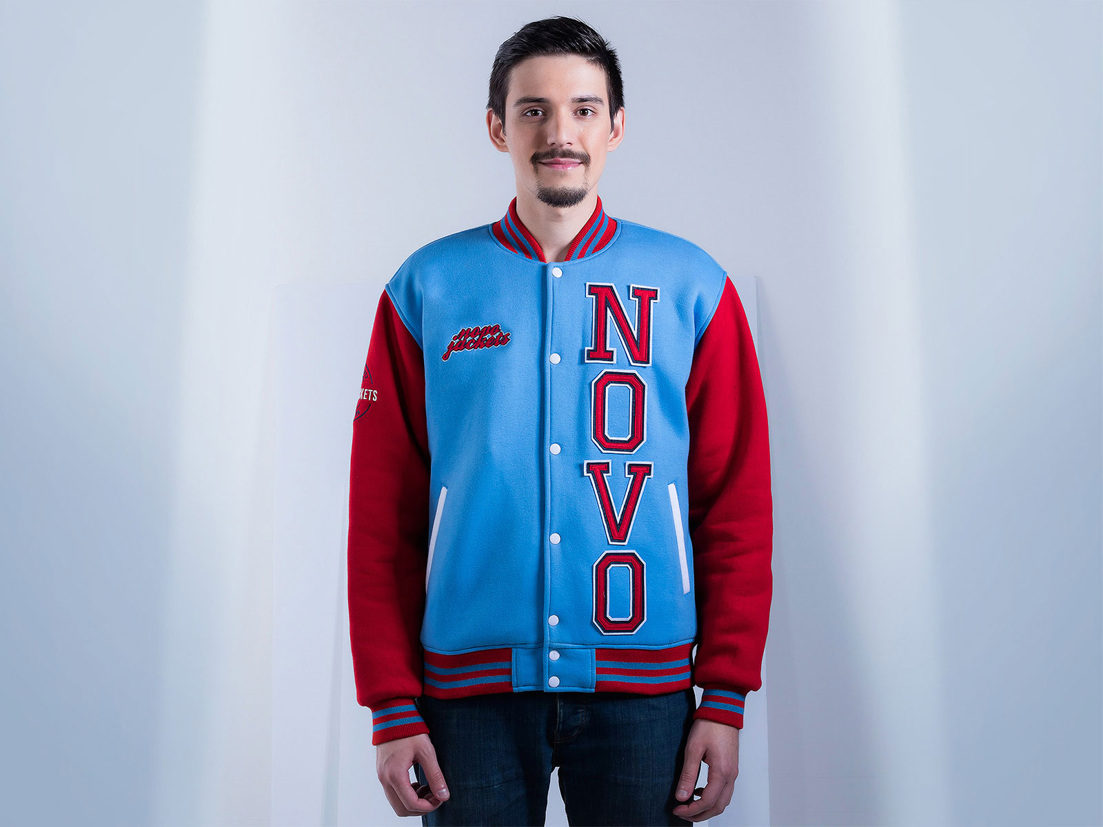 Mens Cotton Fleece Varsity Jacket