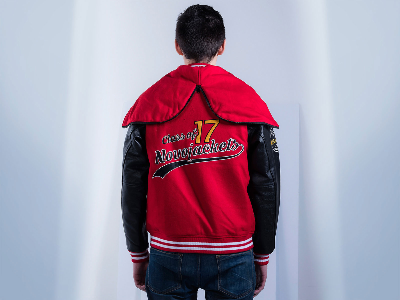 Leather Sleeves Raglan Varsity Zippered Hood