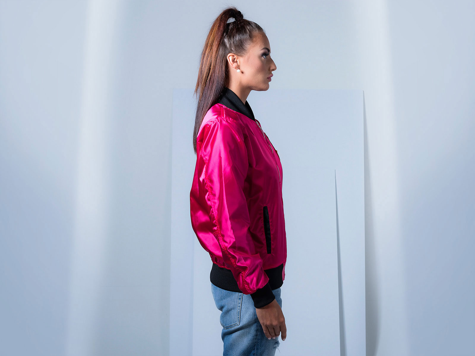Women Pink Satin Bomber Jacket