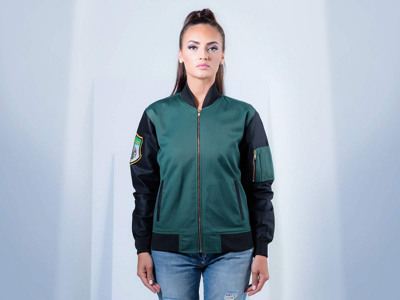 Polly Cotton Twill Bomber Jacket for Women