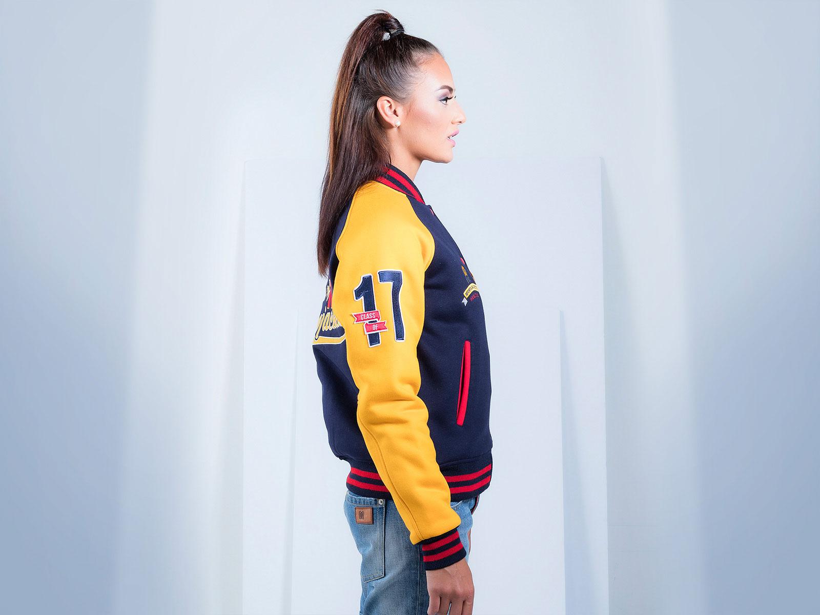 Cotton Fleece Custom Varsity Jacket for Women