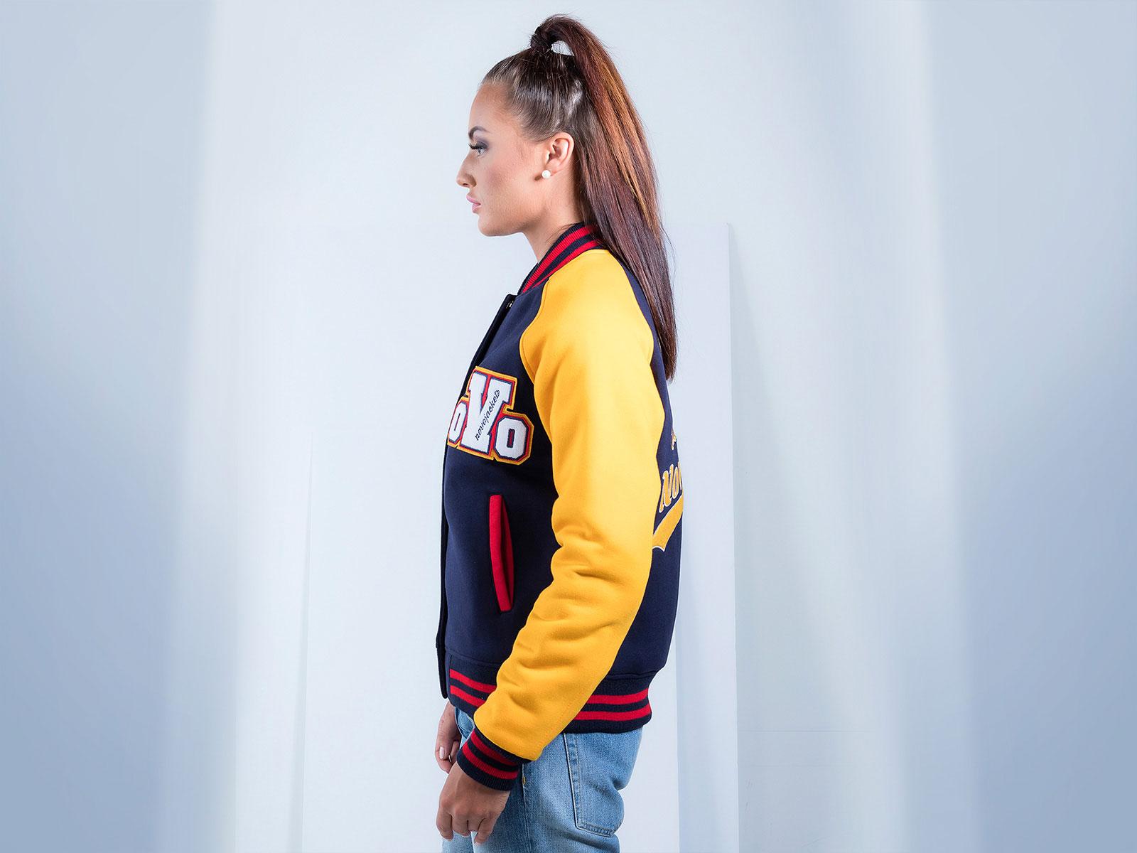Women Raglan Sleeves Cotton Varsity Jackets