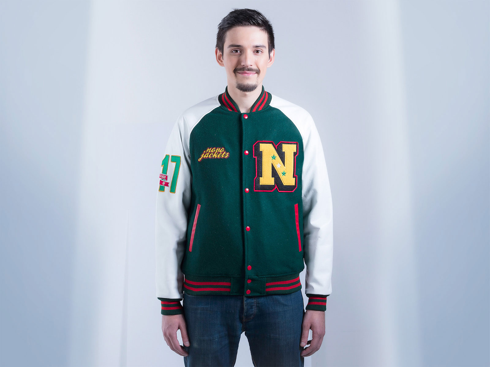 Leather Letterman Jacket for Men Raglan Style