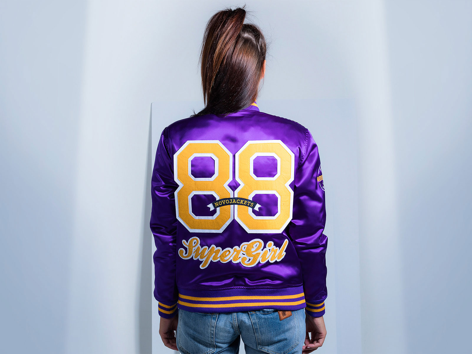 Women Custom Satin Varsity Jackets Purple