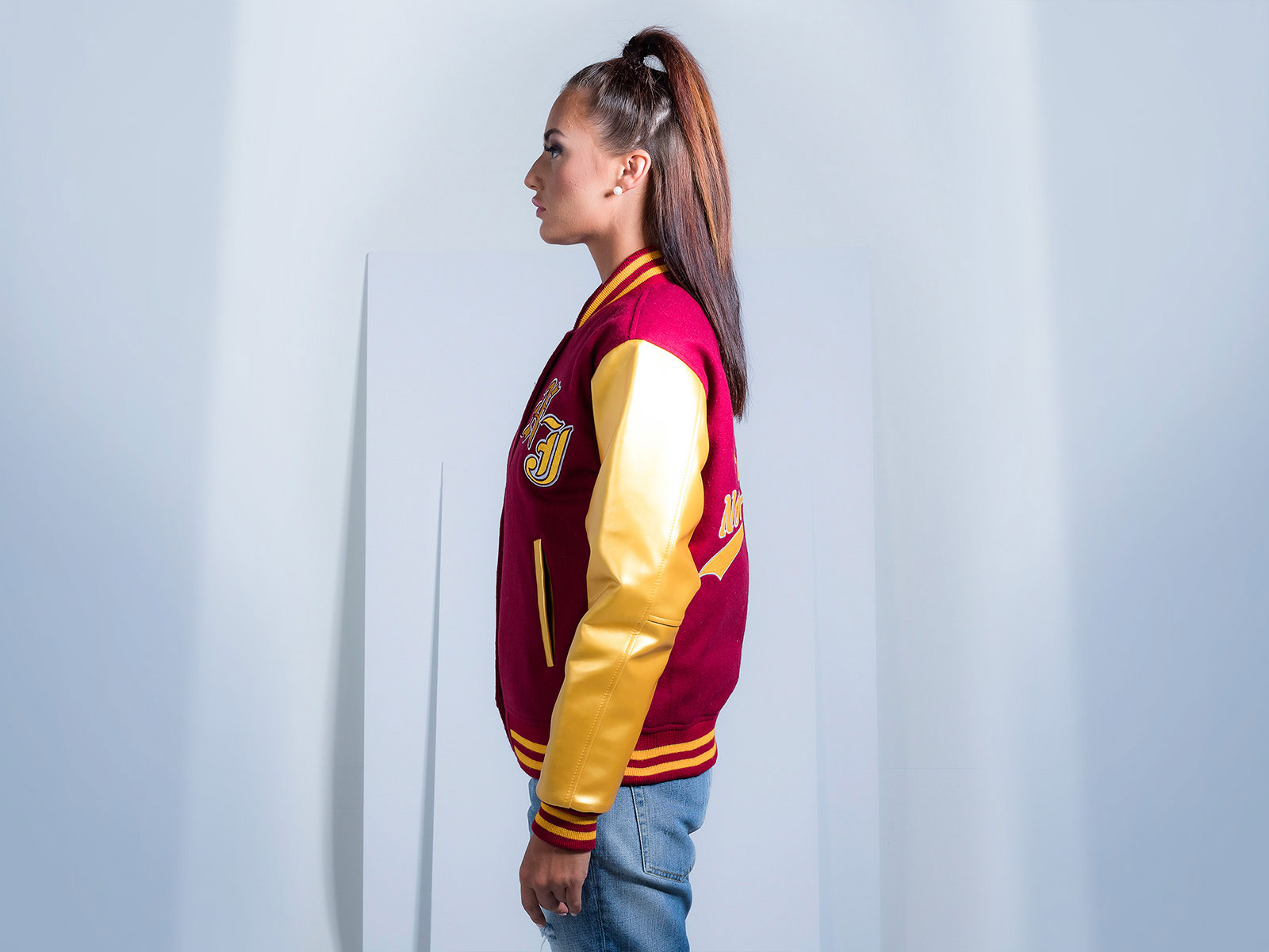 Faux Leather Custom Varsity Jacket for Women