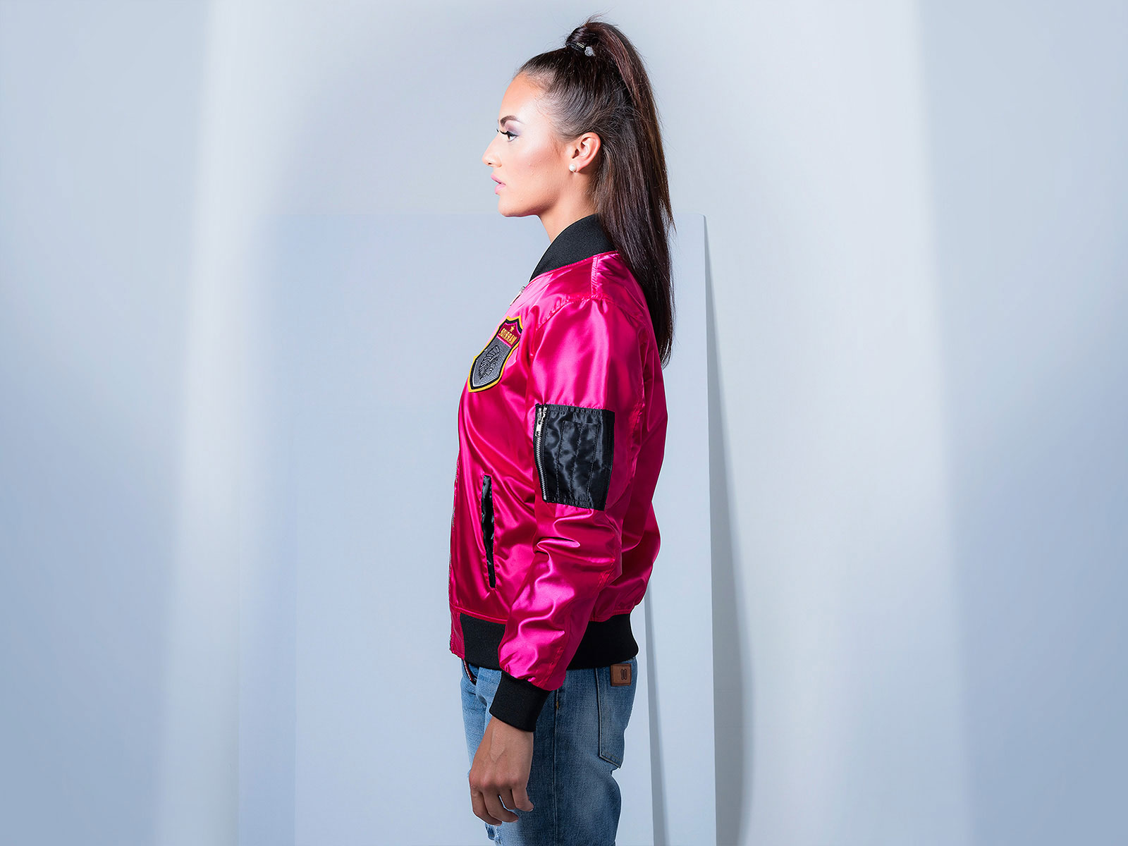 Pink Custom Satin Bomber Jacket