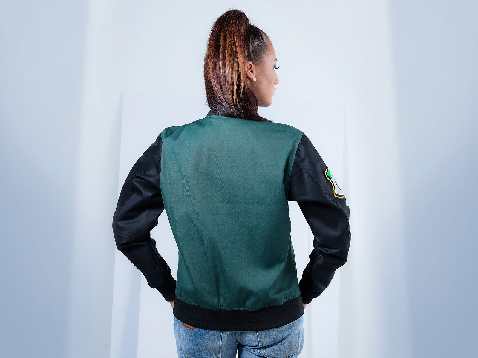 Women Poly Cotton Twill Bomber Jacket