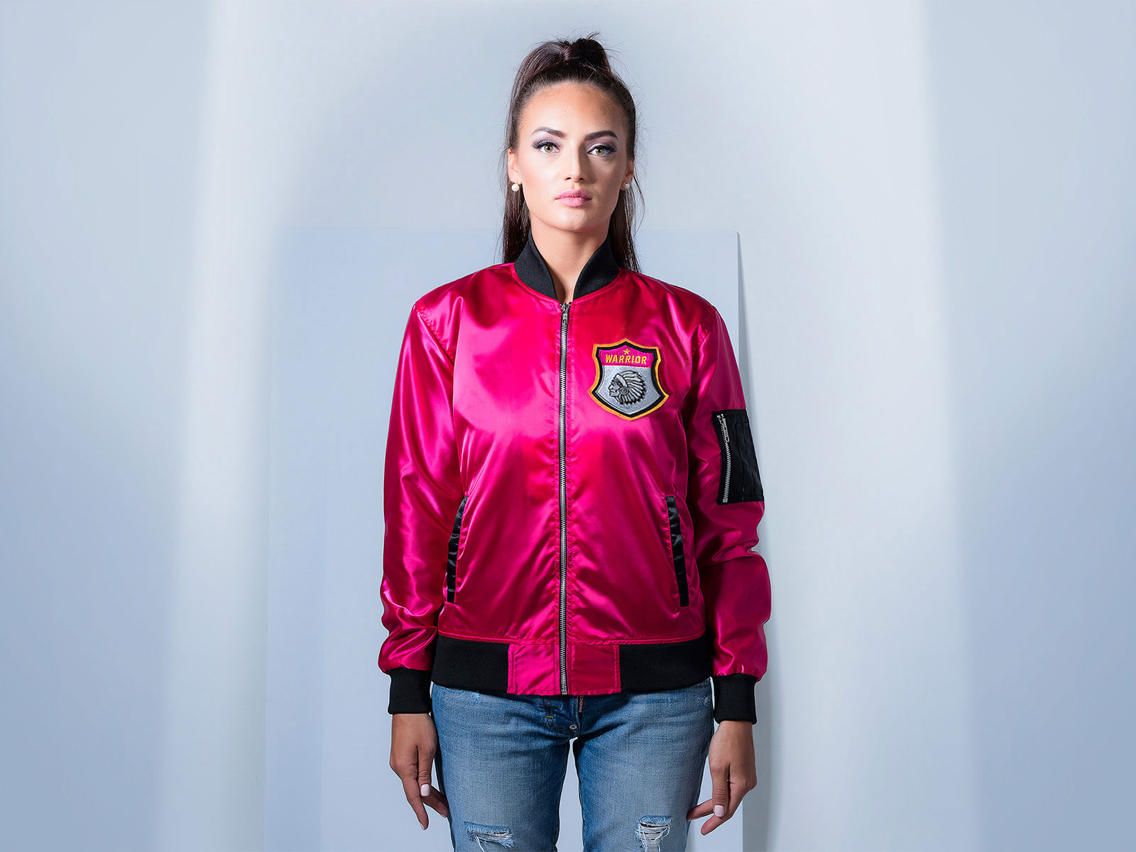 Women Bomber Jacket Pink Satin