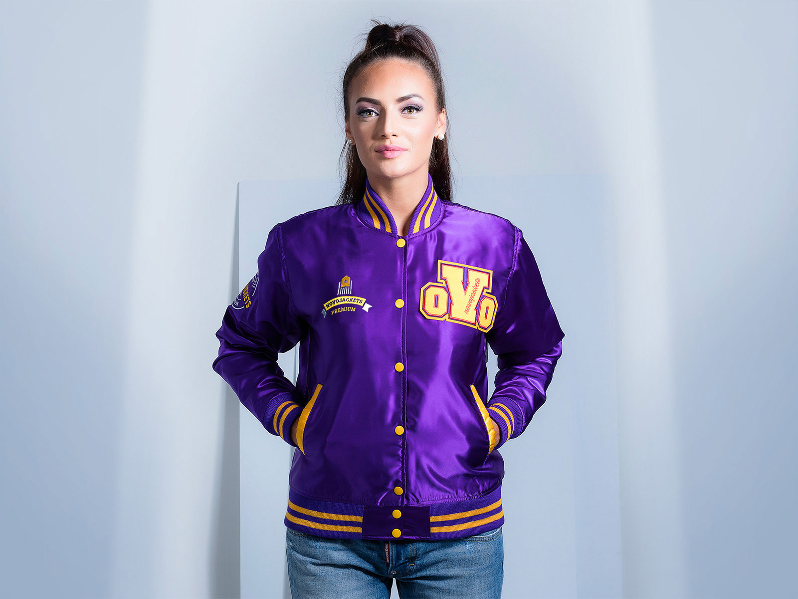 Purple Satin Custom Letterman Jacket for Women