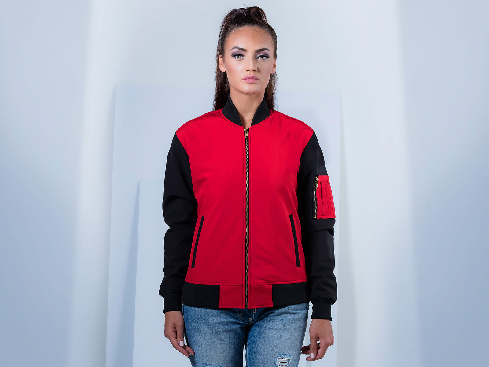 Women SoftShell Bomber Jacket in Red and Black