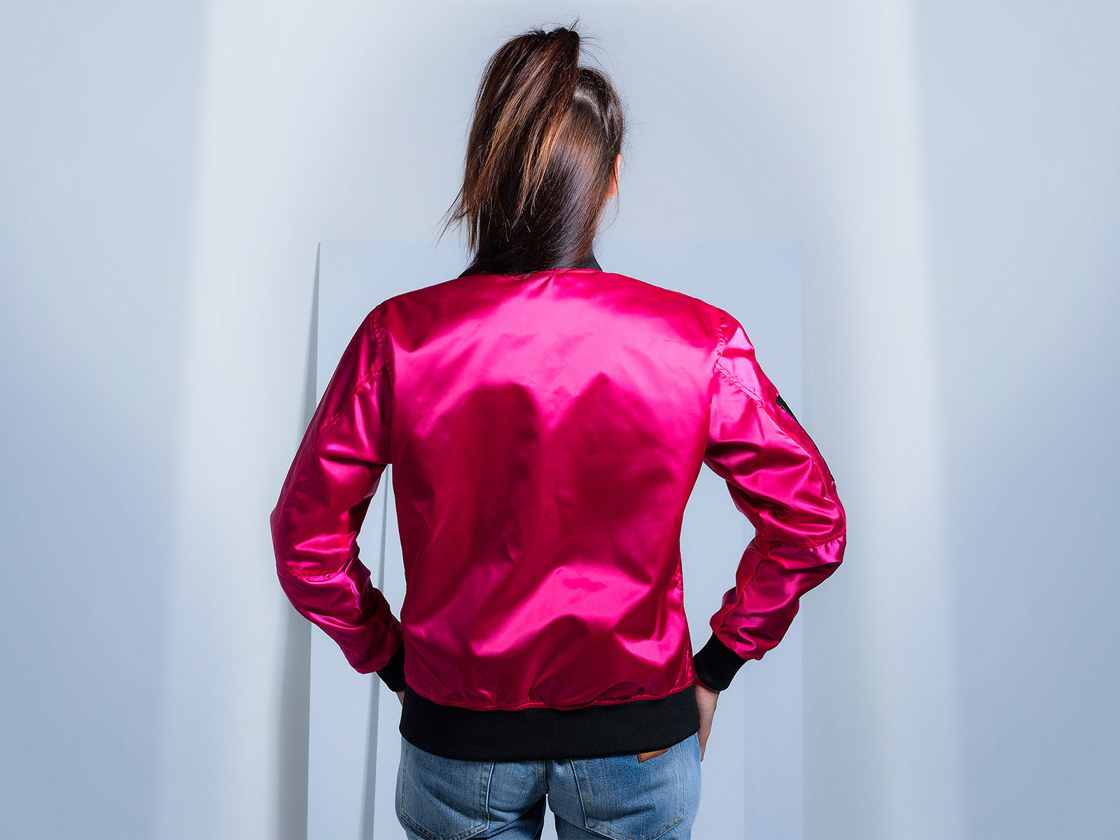 Fuchsia Pink Women Satin Bomber Jacket