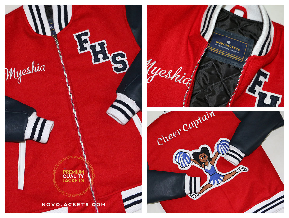 cheer leader captain varsity jacket custom from novojackets.com