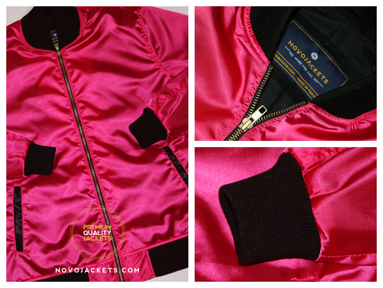 fuchsia pink women custom bomber jacket