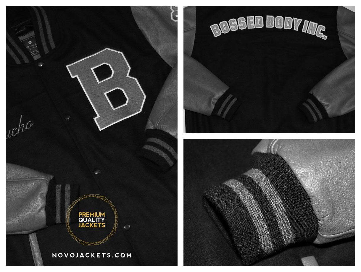 grey leather black wool custom varsity jacket novo