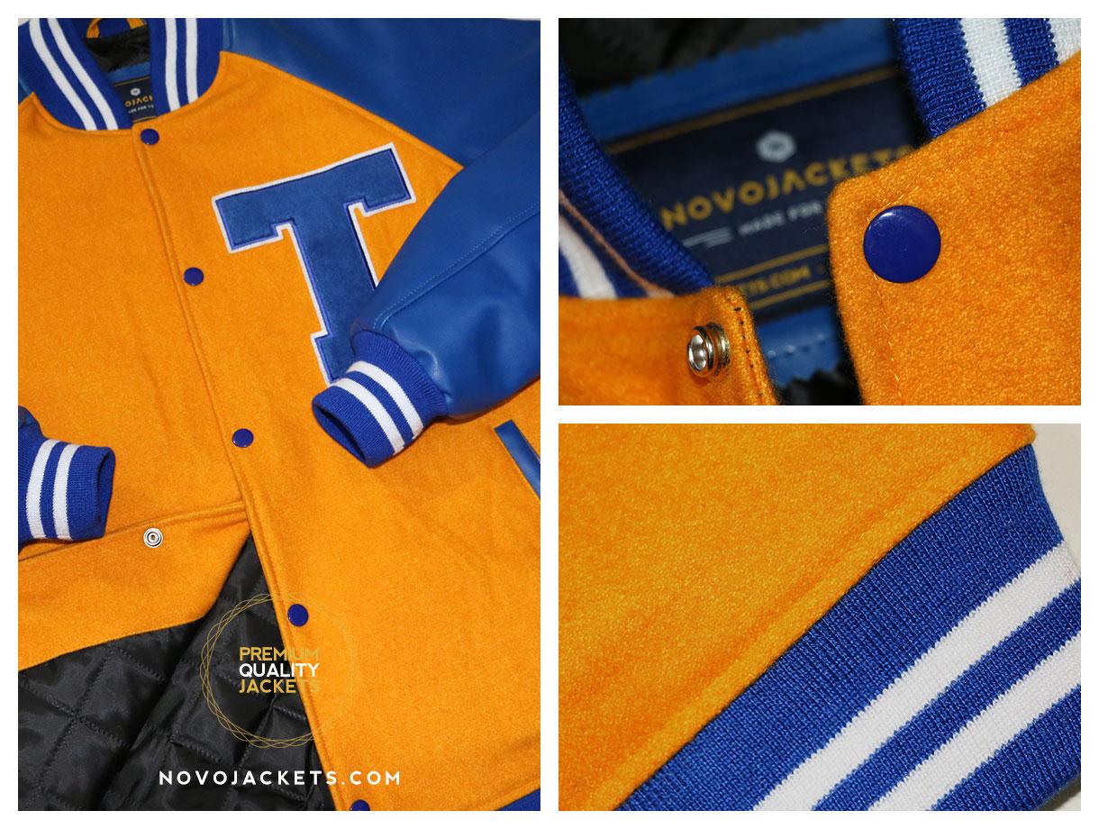 royal orange raglan sleeves wool varsity jackets