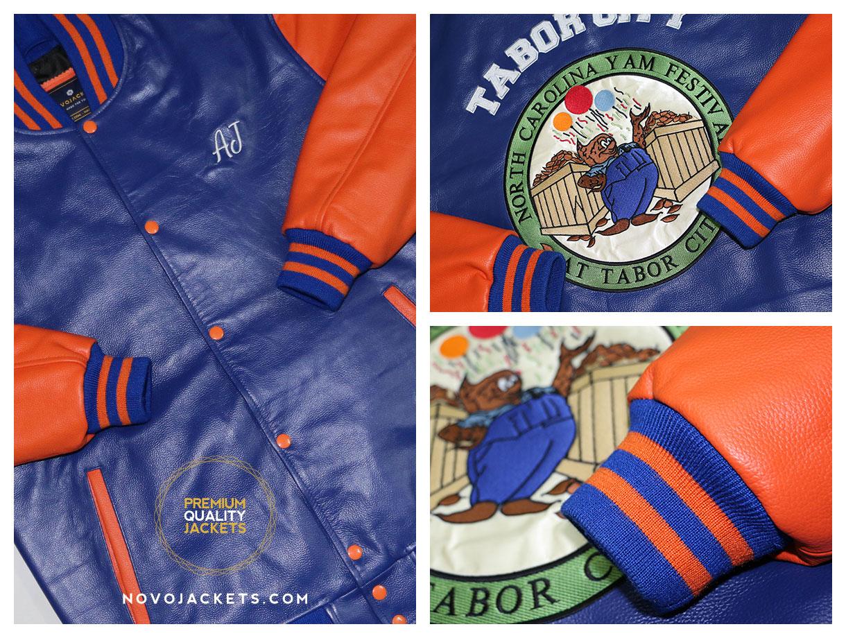 orange royal leather letterman jacket customized from novojackets.com